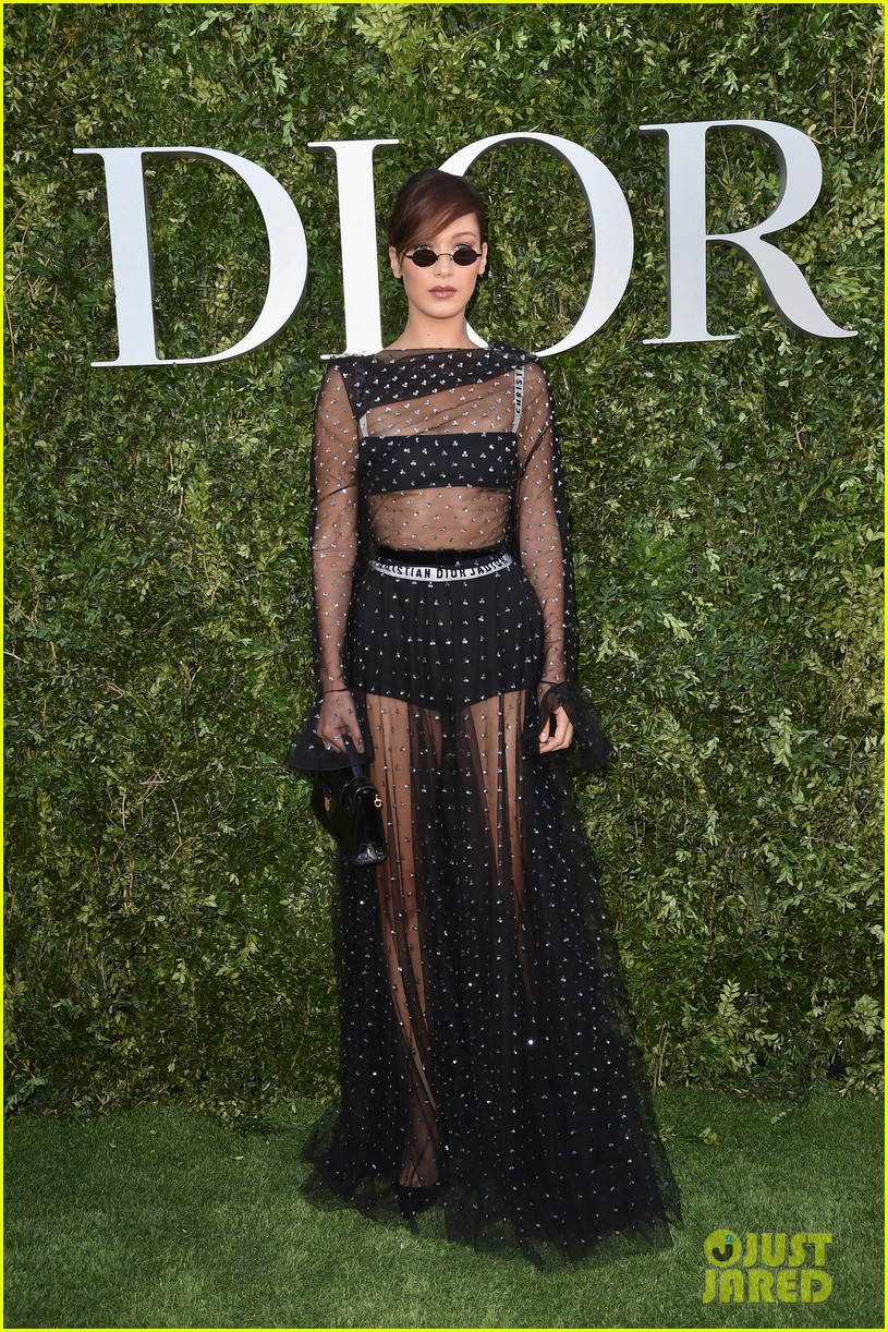 bella hadid wears sheer dress for dior exhibition opening 01