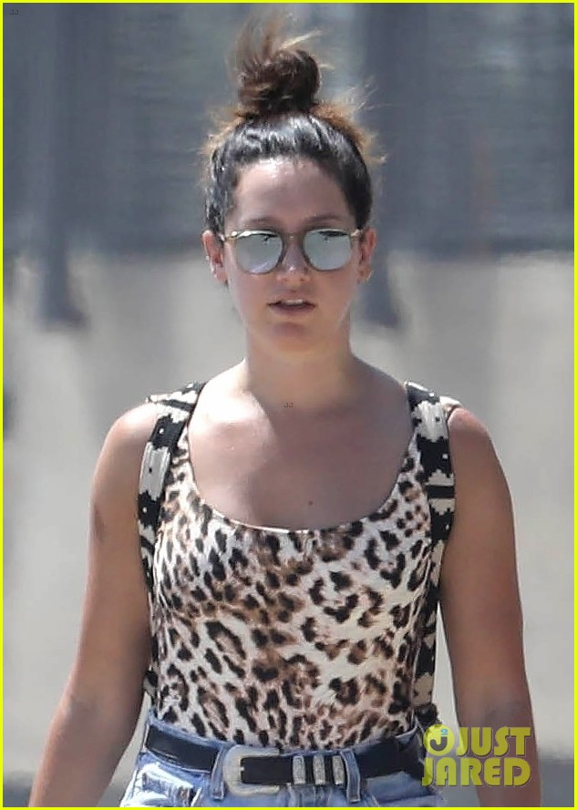 ashley tisdale hits the beach in leopard print bathing suit 04
