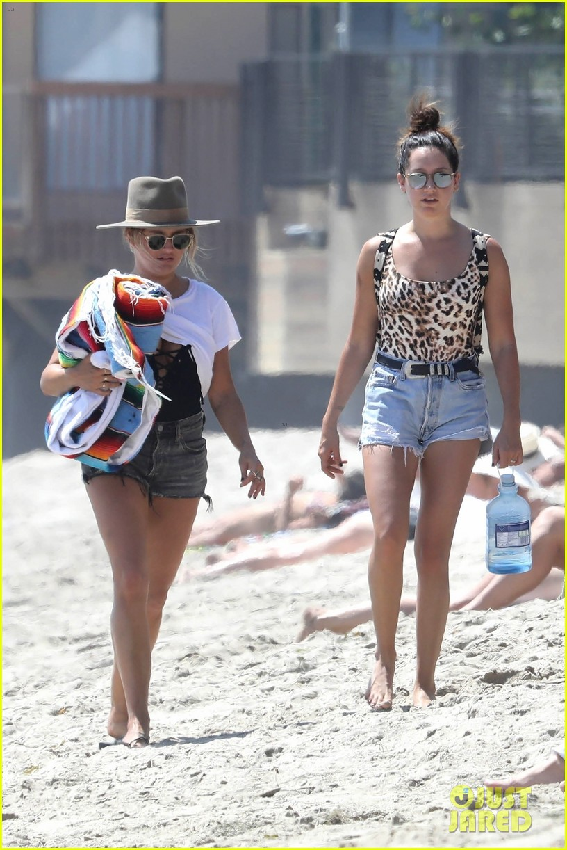 ashley tisdale hits the beach in leopard print bathing suit 08