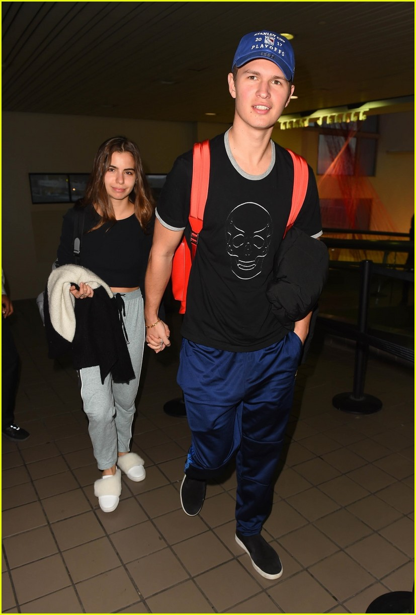 ansel elgort girlfriend hold hands 01