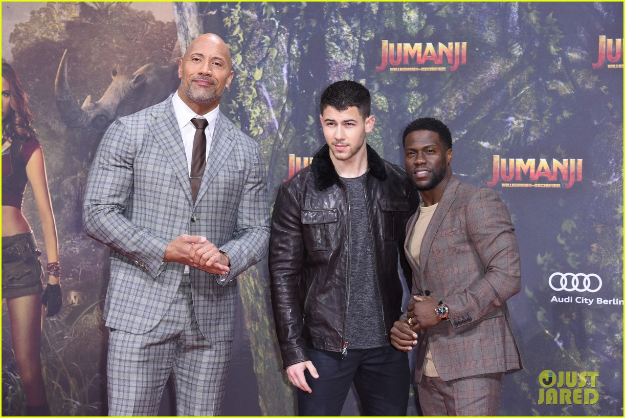 nick jonas dwayne johnson bring jumanji to germany 09